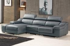 canapé d'angle cuir buffle italien bonito, couleur gris foncé, angle gauche
