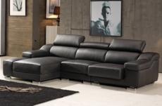 canapé d'angle cuir buffle italien bonito couleur noir, angle gauche