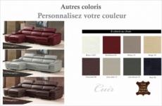 canapé d'angle cuir buffle italien bonito, couleur personnalisée, angle gauche