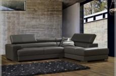 canapé d'angle, en cuir italien 5 places bono, gris foncé.