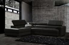 canapé d'angle en cuir italien 5 places bono, noir.
