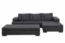 canapé d'angle en tissu de qualité, bony gris foncé, avec pouf-banquette, angle droit