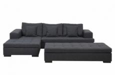 canapé d'angle en tissu de qualité bony, gris foncé, avec pouf-banquette, angle gauche