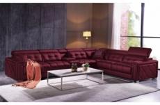 canapé d'angle en cuir de buffle italien de luxe, 6/7 places, prestigia, bordeaux, angle droit
