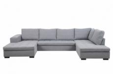 canapé d'angle panoramique en tissu de qualité 6/7 places bostar, gris clair, avec méridienne, angle droit et méridienne à gauche