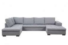 canapé d'angle panoramique en tissu de qualité 6/7 places bostar, gris clair avec méridienne, angle gauche et méridienne à droite