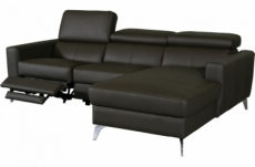 canapé d'angle en cuir italien de luxe 5 places botero, avec relax électrique, chocolat, angle droit
