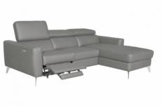 canapé d'angle en cuir italien de luxe 5 places botero, avec relax électrique, gris clair, angle droit