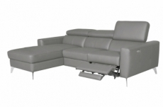 canapé d'angle en cuir italien de luxe 5 places botero, avec relax électrique, gris clair, angle gauche