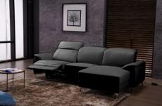 canapé d'angle relax de luxe 5 places brinda, noir, angle droit