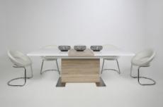 table à manger design laqué blanc brillant et chêne sonoma à rallonge, bretini