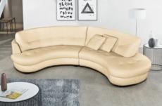 canapé en cuir italien de luxe 5/6 places bretini beige, côté accoudoir gauche