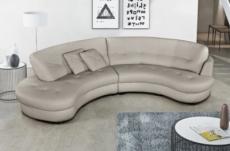 canapé en cuir italien de luxe 5/6 places bretini gris clair, côté accoudoir droit