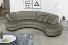 canapé en cuir italien de luxe 5/6 places bretini gris foncé, côté accoudoir gauche