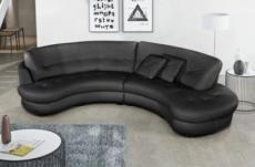 canapé en cuir italien de luxe 5/6 places bretini noir, côté accoudoir gauche