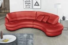 canapé en cuir italien de luxe 5/6 places bretini rouge foncé, côté accoudoir gauche