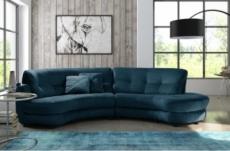 canapé en tissu luxe 5/6 places brenner bleu foncé, côté accoudoir gauche