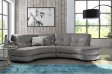 canapé en tissu luxe 5/6 places brenner gris clair, côté accoudoir gauche