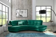 canapé en tissu luxe 5/6 places brenner vert foncé, côté accoudoir gauche