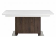 très jolie table avec rallonge, brica, très brillante, extérieur recouvert d'une feuille en noyer
