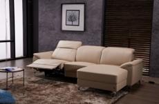 canapé d'angle relax en cuir de buffle italien de luxe 5 places brio, beige, angle droit