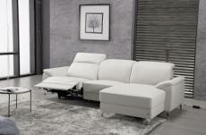 canapé d'angle relax en cuir de buffle italien de luxe 5 places brio, blanc, angle droit