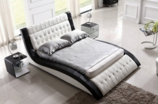 lit en cuir italien de luxe brio, blanc et noir, 160x200