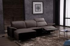 .canapé d'angle relax en cuir de buffle italien de luxe 5 places brio, chocolat, angle gauche