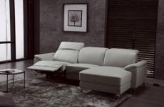 canapé d'angle relax en cuir de buffle italien de luxe 5 places brio, gris clair, angle droit