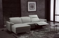 .canapé d'angle relax en cuir de buffle italien de luxe 5 places brio, gris clair, angle gauche
