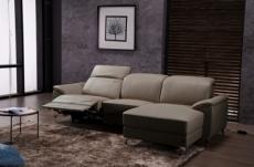 canapé d'angle relax en cuir de buffle italien de luxe 5 places brio, moka, angle droit