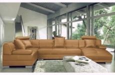canapé d'angle en cuir italien luxe 8 places napoli, marron, angle gauche