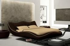 lit en cuir italien de luxe luxen, chocolat et liseret beige, 180x200