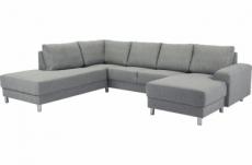 canapé d'angle en tissu de qualité calvi, gris clair, angle gauche