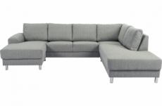 canapé d'angle en tissu de qualité calvi, gris clair, angle droit