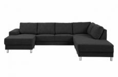 canapé d'angle en tissu de qualité calvi, gris anthracite, angle droit