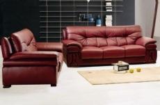 ensemble oxford 2 pièces canapé 3 places + 2 places en cuir luxe italien vachette, couleur bordeaux