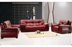 ensemble oxford 3 pièces: composé d'un canapé 3 places + 2 places + fauteuil en cuir luxe italien vachette, bordeaux
