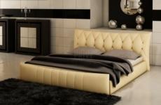 lit en cuir italien de luxe camille, beige