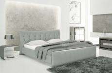 lit en cuir italien de luxe camille, gris clair.