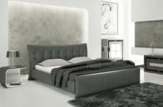 lit en cuir italien de luxe camille, gris foncé.