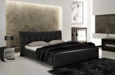 lit en cuir italien de luxe camille, noir.