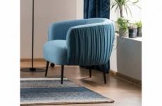 fauteuil 1 place en tissu de qualité lena, bleu