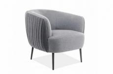 fauteuil 1 place en tissu de qualité lena, gris