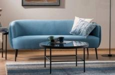 canapé 3 places en tissu de qualité lena, bleu