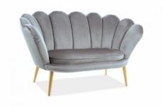 canapé 2 places madison en tissu de qualité, gris, pieds dorés