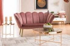 canapé 2 places madison en tissu de qualité, rose, pieds dorés