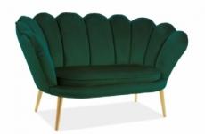 canapé 2 places madison en tissu de qualité, vert, pieds dorés
