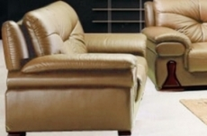canapé oxford 2 places en cuir luxe italien vachette, beige