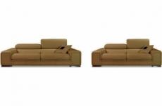 ensemble geneva 2 pièces: canapé 3 places + 2 places en cuir luxe italien vachette, marron